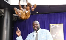 Former Lakers center Shaquille O'Neal poses at statue unveiling ceremony at Staples Center.