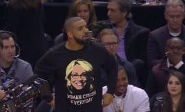 This is Drake waring his Doris Burke shirt.