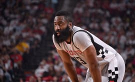 James Harden #13 of the Houston Rockets looks on