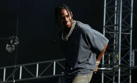 This is a photo of Travi$ Scott performing at Made in America.