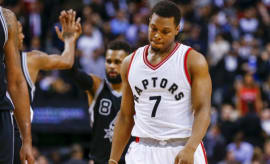 Kyle Lowry reacts to a call against him during a game against the Spurs.