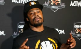 Marshawn Lynch at a press event.