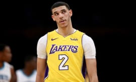 Lonzo Ball #2 of the Los Angeles Lakers
