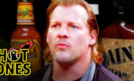 chris jericho gets body slammed by spicy wings hot ones