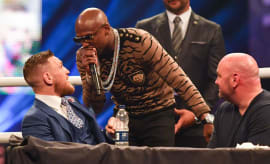 Floyd Mayweather shouts at Conor McGregor during one of their fight press conferences.