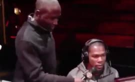 Hannibal Buress asks Kevin Durant question during 2K event.
