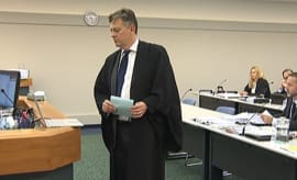 "A lawyer in New Zealand listens to Eminem's ""Lose Yourself"" in the courtroom."