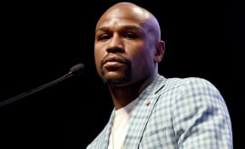 Floyd Mayweather delivers a speech.