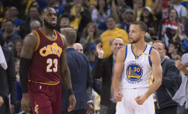 LeBron James Steph Curry Cavs Warriors Jan 2017 Oakland