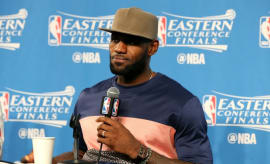 LeBron James speaks with reporters after Game 3 of the 2017 Eastern Conference Finals.