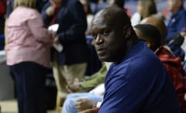 Shaq caught by camera while attending game.