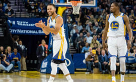 Golden State Warriors guard Stephen Curry (30) reacts after a play against the Utah Jazz.
