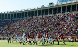 Harvard plays against Yale in college football game