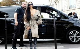 Kim Kardashian appears in Paris prior to robbery in October 2016.