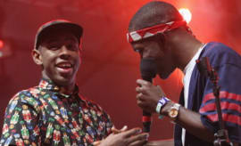 Tyler, The Creator (L) and Singer Frank Ocean perform onstage at the 2012 Coachella