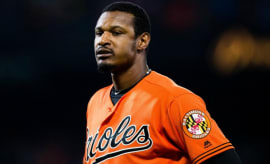 Adam Jones reacts to a call on the field.