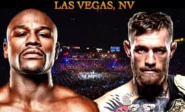 Floyd Mayweather and Conor McGregor fight poster.