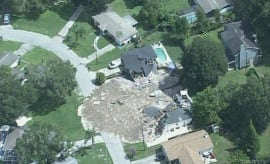 An airborn shot of a sinkhole in Florida.
