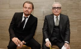 Actor Leonardo DiCaprio (L) and filmmaker Martin Scorsese