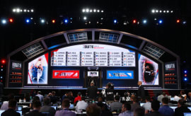 A picture of the stage at the 2016 NBA Draft.