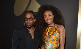 Kendrick Lamar and SZA attend The 58th GRAMMY Awards