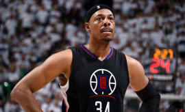 Paul Pierce reacts to a call during a game.