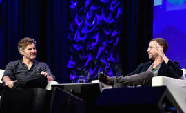 Writers David Benioff (L) and D.B. Weiss speak onstage