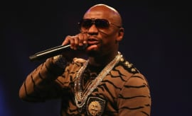 Floyd Mayweather talks trash during his promo tour with Conor McGregor.