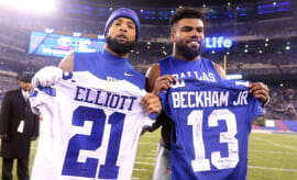 Ezekiel Elliott and Odell Beckham Jr. pose with one another after thier Sunday night game.