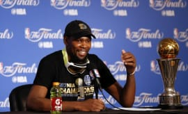 Kevin Durant conducts a press conference after Game 5 of the 2017 NBA Finals.
