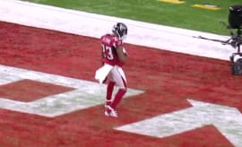 Robert Alford celebrates interception for a touchdown in Super Bowl LI.