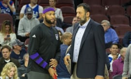 Vlade Divac and DeMarcus Cousins speak before game.