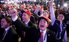 trump supporters at his election night event