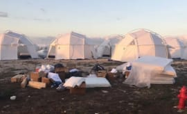 Tents at the disastrous Fyre Festival.