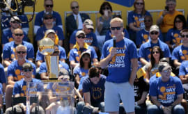 Steve Kerr speaks at the Warriors' NBA title celebration.