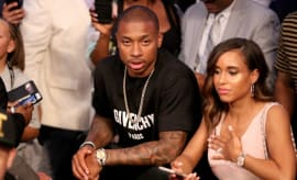 Isaiah Thomas at the Mayweather/McGregor fight.