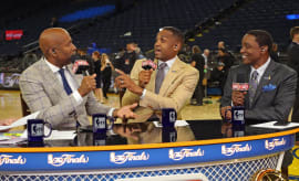 Kenny Smith Grant Hill Isiah Thomas NBA Finals Game 1 2017 Getty