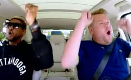 "James Corden and Usher in ""Carpool Karaoke."""