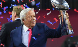 Robert Kraft celebrates the Patriots' Super Bowl LI win.
