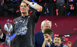 Tom Brady celebrates Super Bowl LI victory.