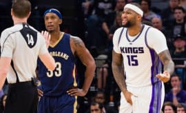 DeMarcus Cousins reacts to Buddy Hield nailing him in the groin.