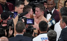 Canelo Golovkin Embrace 2017 Getty