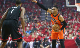 Russell Westbrook Rockets Thunder Game 2 2017 Pointing
