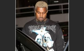 Kanye West wearing a Cradle of Filth shirt