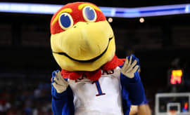 The Kansas Jayhawks mascot.