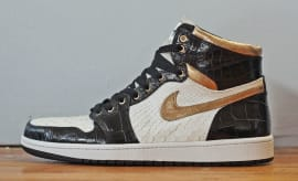 Air Jordan 1 White Python Black Croc Gold Leather by JBF Customs Side