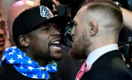 Floyd Mayweather and Conor McGregor go face-to-face during press conference.