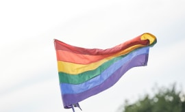 The rainbow flag is seen during the 2016 Electric Zoo Festival