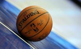 NBA ball on court.