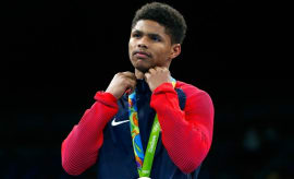 Shakur Stevenson at the 2016 Rio Olympics.